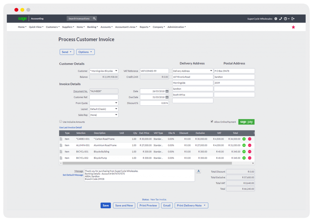 Sage Business Cloud Accounting Customer Invoice